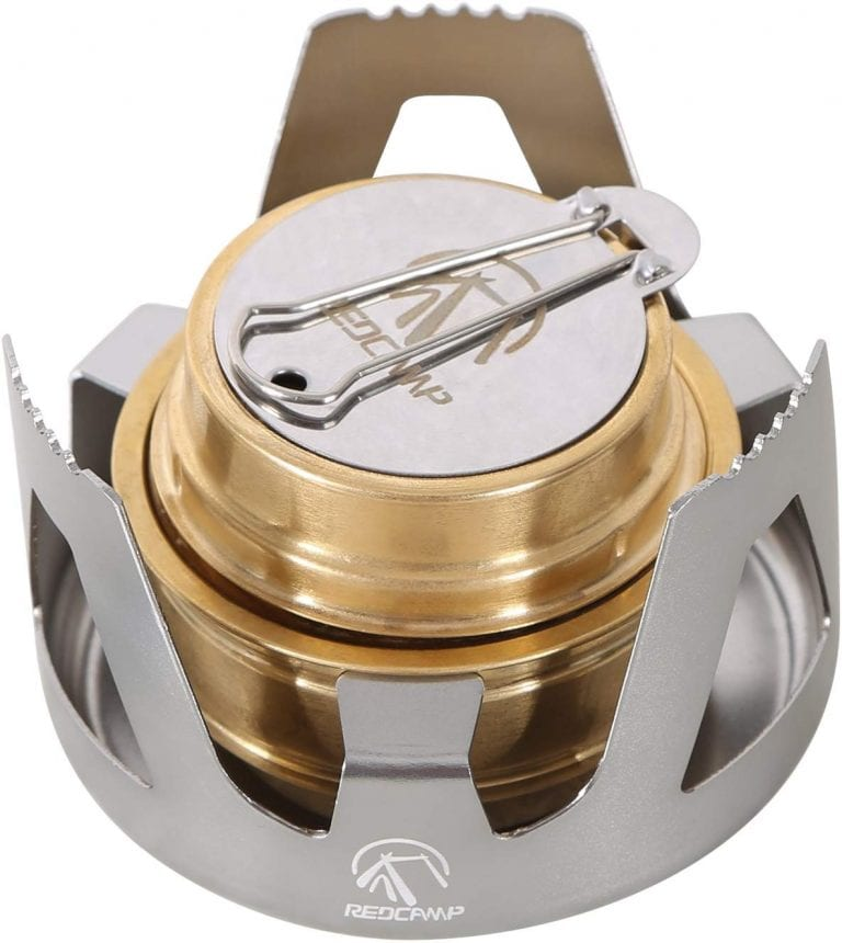 Mini Alcohol Stove Lightweight Brass Spirit Burner with Stand (Silver)