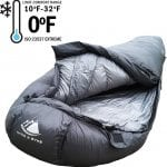 Lightweight Motorcycle Camping Sleeping Bag Synthetic 0 Deg F Limit grey