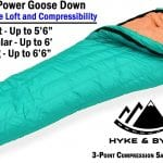 Hyke & Byke Goose Down Sleeping Bag +15 deg F Limit