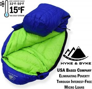 Hyke & Byke Goose Down Sleeping Bag +15 deg blue