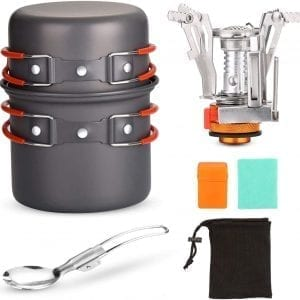 Lightweight Camping Cookware Set - 6pc Mess Kit and Stove