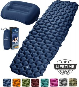Inflatable Sleeping Pad w Pillow blue