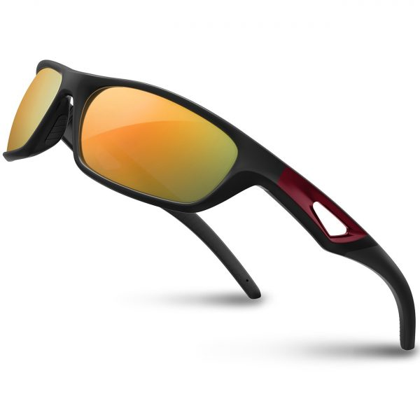 RIVBOS Polarized TAC Lens Motorcycle Sunglasses - Black/Red Mirror