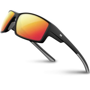 RIVBOS Polarized UV Sunglasses Sport Driving Glasses - Black/Ice Red