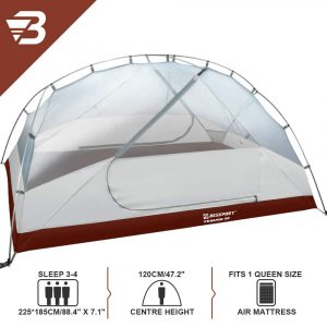 Bessport 3 Person Motorcycle Camping Tent Burgandy 5