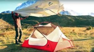 setting up tent in wind