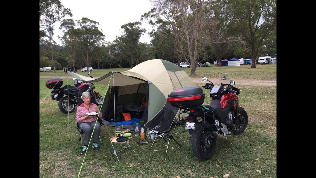 2 old people motorcycle camping