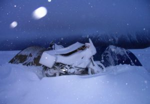 winter motorcycle camping image